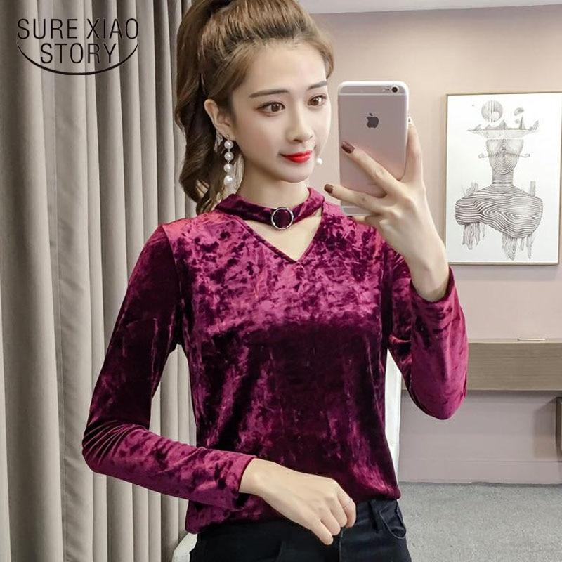 Fashion women   blouse     shirt   long-sleeved female V neck womens tops and   blouses   gold velvet 2019 spring feminine blusas 1814 50