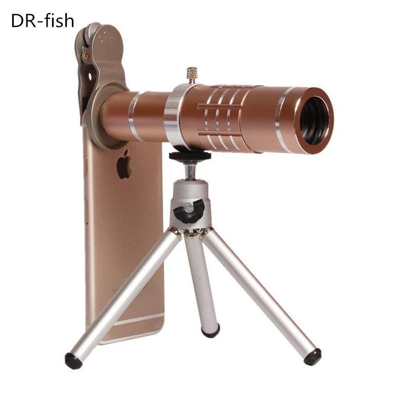 imágenes para Clip Universal 18X Zoom lens Telescopio Cámara Teleobjetivo Lentes Trípode De Aluminio Del Teléfono de Shell Para el iphone 7 6 S Móvil Android teléfono