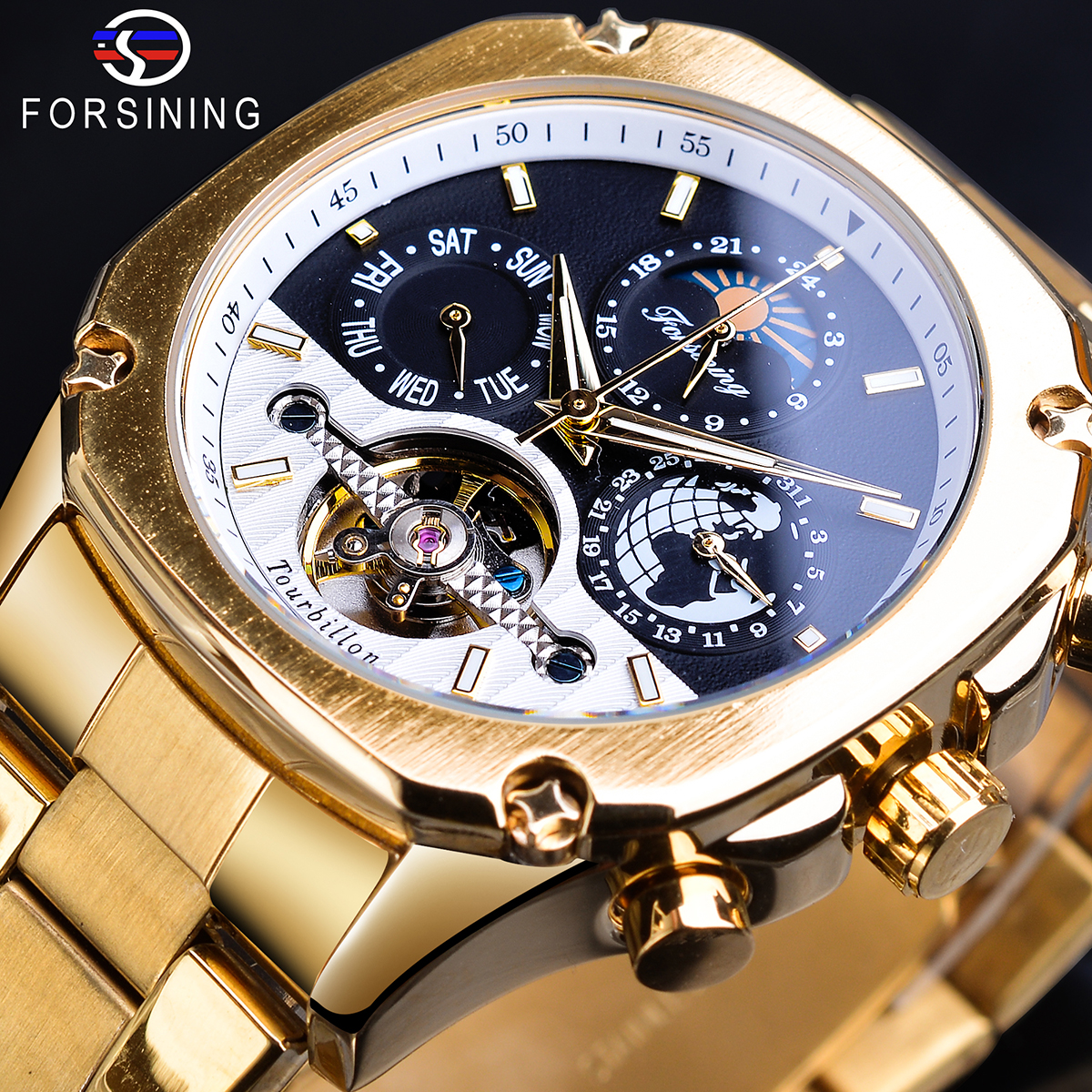 Forsining Grand Golden Automatic Watch Tourbillon Moonphase Male Mechanical Calendar Self-Wind Steel Belts Wristwatches Relogio