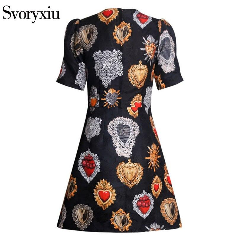 Svoryxiu 2019 piste Vintage petites robes noires femmes Chic manches bouffantes imprimé Jacquard femme fête Slim une ligne Mini robe - 2