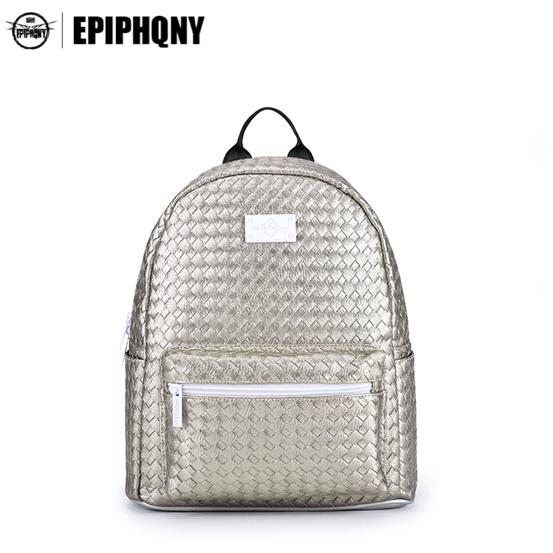 Epiphqny Brand Luxury Solid Color Backpack Women Champagne Gold Woven SchoolBags PU Leather Knit Daily Daypacks Small