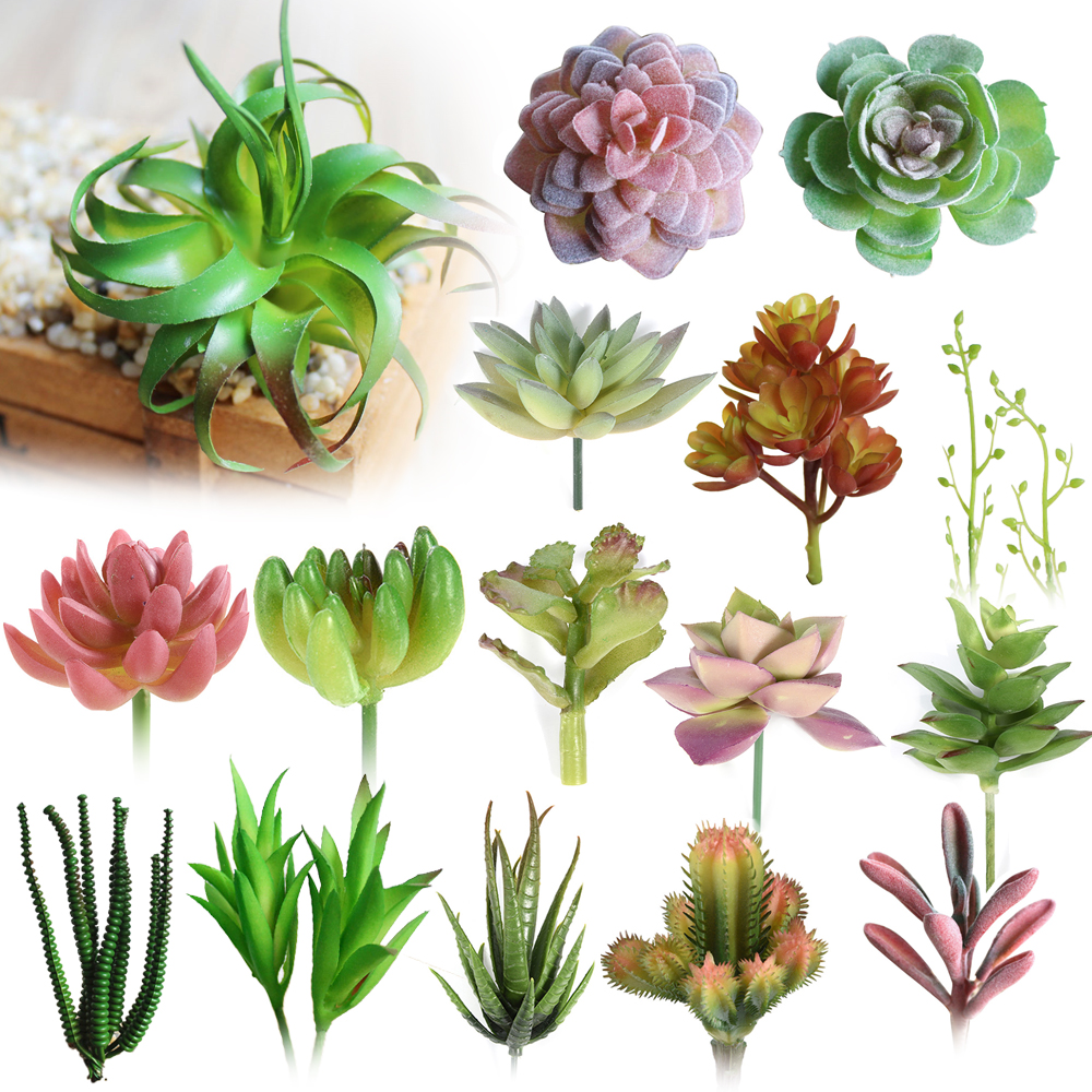 Various Artificial Succulent Plants Lotus Landscape Decorative Flower Mini ..