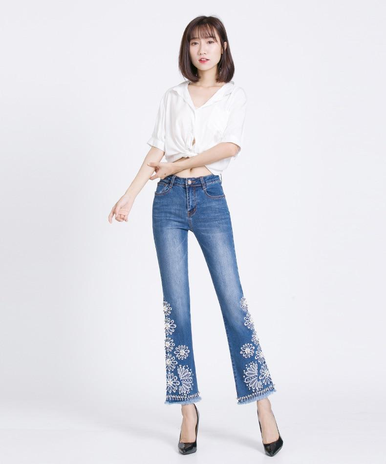 KSTUN FERZIGE Jeans Women Summer Slim Stretch Embroidered Flares Bells Ankle Length Pants Manual Beads Light Blue Elegant Ladies Girl 11