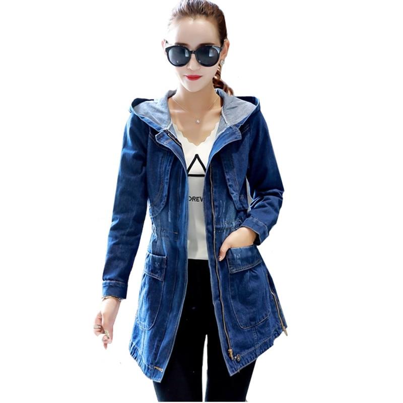 Hooded Denim Women Jackets Spring Autumn Loose Vintage Long-sleeved Jeans Jacket Casual Student Slim Denim Coat Plus size 5XL