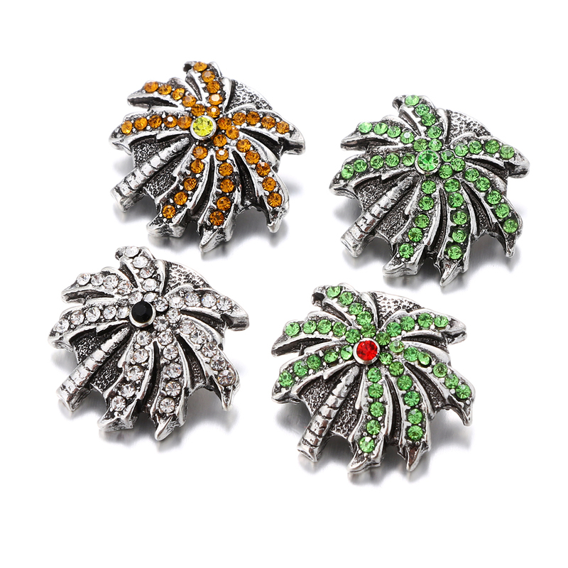 New Rhinestones Snap Jewelry Crystal Palm Tree Ginger Snap Buttons DIY 18MM Snap Bracelets Neklace Button Women Jewelry