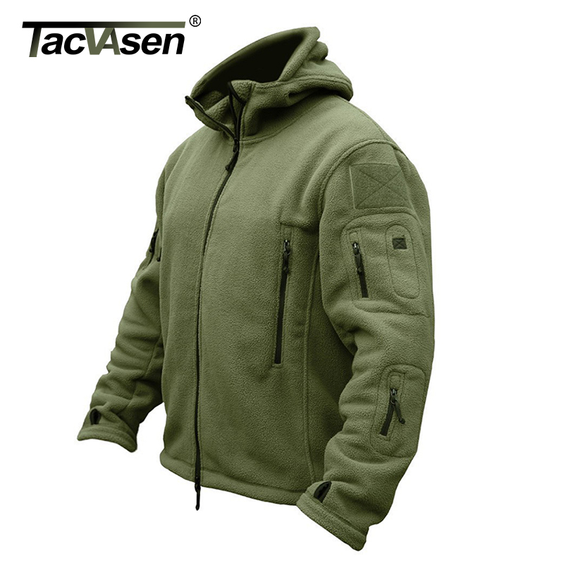 TACVASEN Winter Military Fleece Jacket Men Army Airsoft Tactical Jacket Navy Thermal Hooded Jacket Coat Outerwear Clothing Men