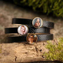 Personalized Custom Photo Leather Bangle Bracelet Photo of Your Baby Child Mom Dad Grandparent Loved One Gift for Family Member