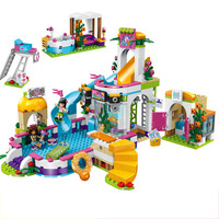 Girl Friend Princess Heartlake Summer Pool Lele Building Block Compatible legoings 41313 kid Brick Toy gift