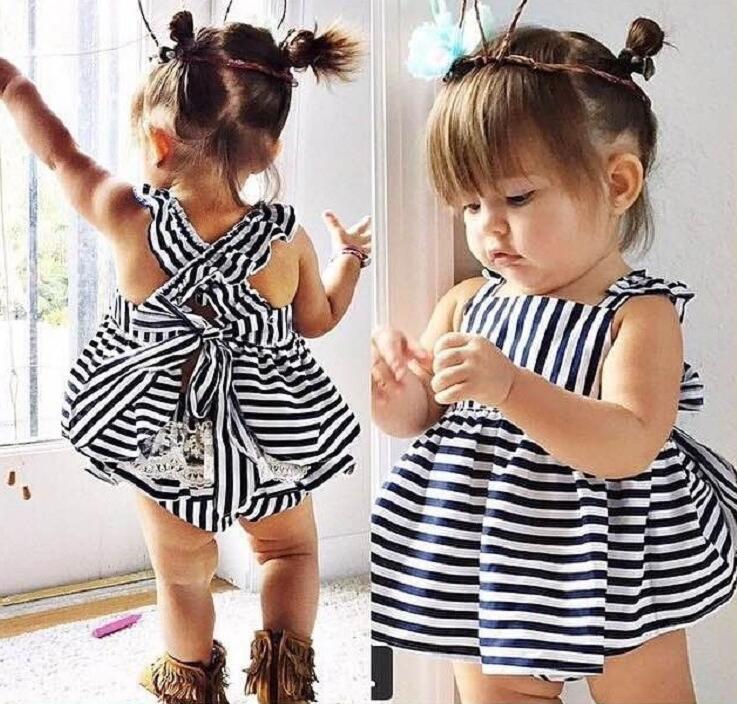 e458fc6895 Nowościach dziewczynka księżniczka rękaw mniej paski tutu one piece dress +  pp kalesony 2 sztuk zestaw dzieci sweet lato odzież