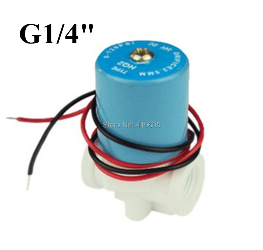 Free shipping G1/4'' solenoid valve Plastic valve Normally Closed 2-Way valve 0-120PSI 12VDC