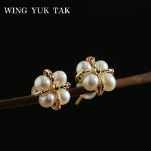 wing yuk tak Simple White Freshwater Pearls Earrings For Women Classic Korean Handmade Small Stud Colorfast Jewelry