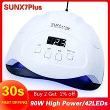 อัพเกรด SUN X7 PLUS UV โคมไฟเล็บ LED 72W/90W เครื่องเป่าเล็บ Sun Light สำหรับเล็บเล็บเจลโคมไฟแห้งสำหรับเจลเคลือบเงา