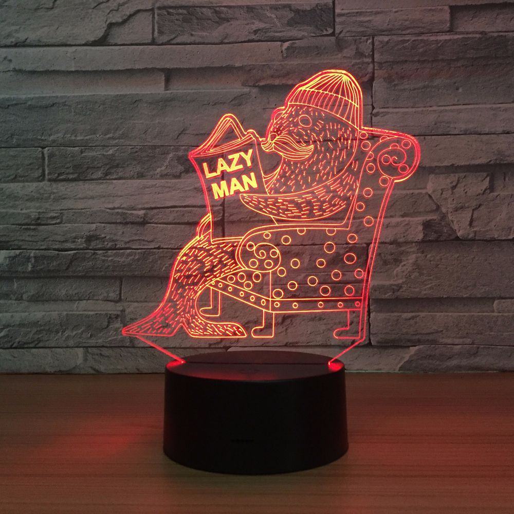 Seal 3d Vision Night Light Touch Touch Switch Usb Light Fixtures Lovely 7 color change 3D Lamp Luminaria Fun Gift for Lazy Man xmas gift series christmas decorations for home 3d lamp led night light luminaria santa claus tree snow man bear fish kids toys