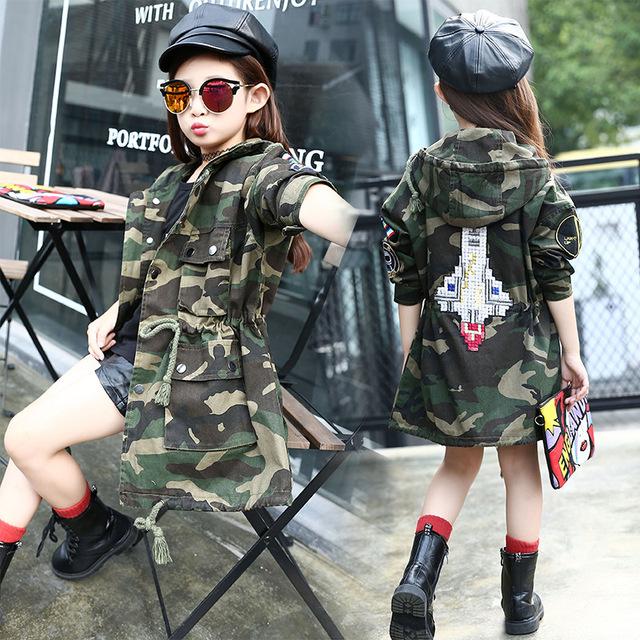 Meninas Primavera Roupas de Camuflagem Casaco Esporte Revestimento Do Outono Roupas Meninas Adolescentes Ourterwear Crianças Roupas Crianças Jaqueta para a menina