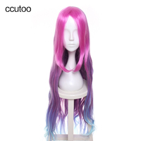 ccutoo 100cm LOL Miss Fortune Arcade Women Long Rose Red Purple Blue Gradient Wavy Synthetic Cosplay Full Wigs Heat Resistance