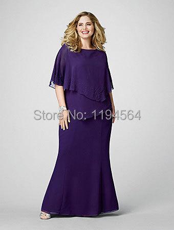 2014 purple gasa madre vestidos tallas grandes vestido de madrina