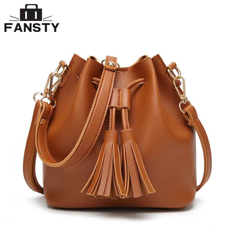 New Brand Designer Women Bucket Handbag Fashion Solid Tassel String Lady Shoulder Cross Body Bag PU
