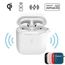 Беспроводное зарядное устройство Qi, мягкий силиконовый чехол для наушников Apple Airpods 2 1, беспроводные Bluetooth наушники, защитный чехол