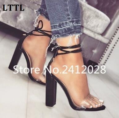 443ee4527daa LTTL Transparent PVC Ankle Strap Women Pumps Pink Nude Clear Lace-Up Block  Heels Women Shoes Peep Toe High Heels Women Sandals
