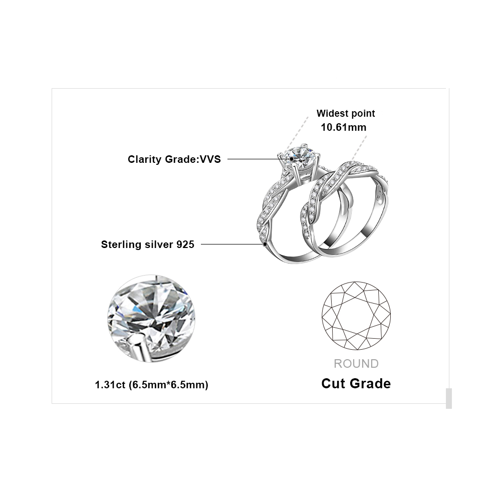 Image 5 - JPalace Infinity Engagement Ring Set 925 Sterling Silver Rings  for Women Anniversary Wedding Rings Bridal Set Silver 925 Jewelry925  sterling silverwedding bandsterling silver