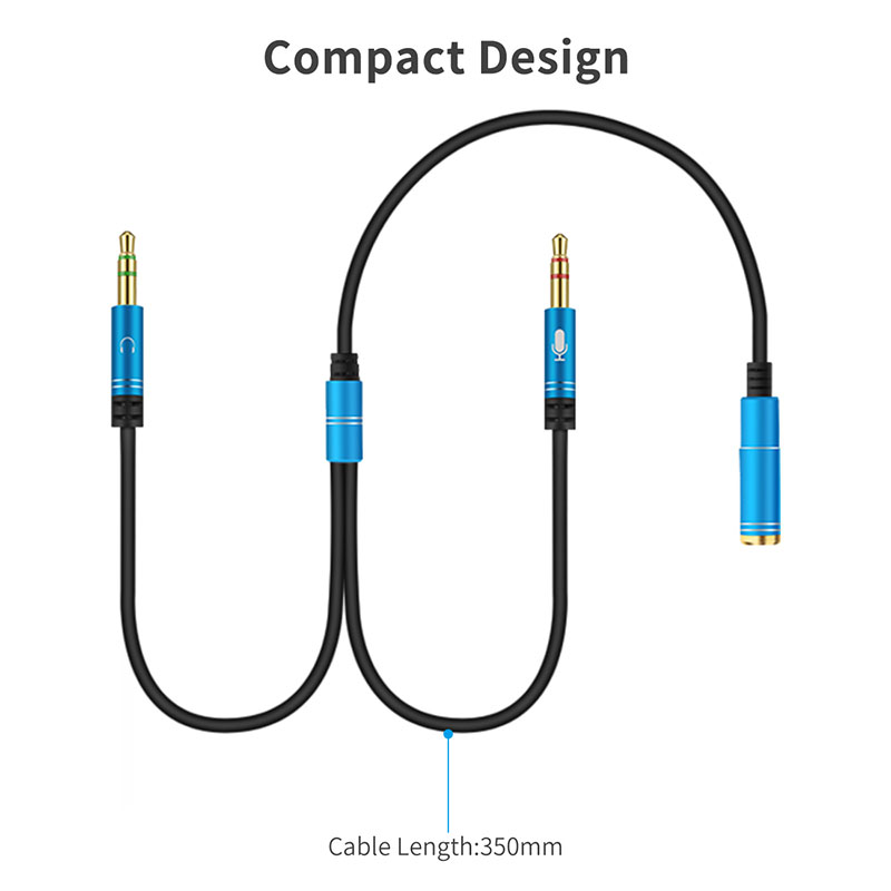 Audio extend Cable Headphone Splitter for Computer 3.5mm Female to 2 Male 3.5mm Mic Audio Y Splitter Cable Headset to PC Adapter