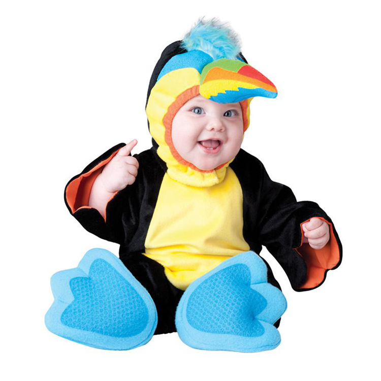 Penguin Animal Baby Rompers Character Cotton Outwear Set Baby Flannel Jumpsuit 7-24 Month Toddler Baby Halloween Clothes