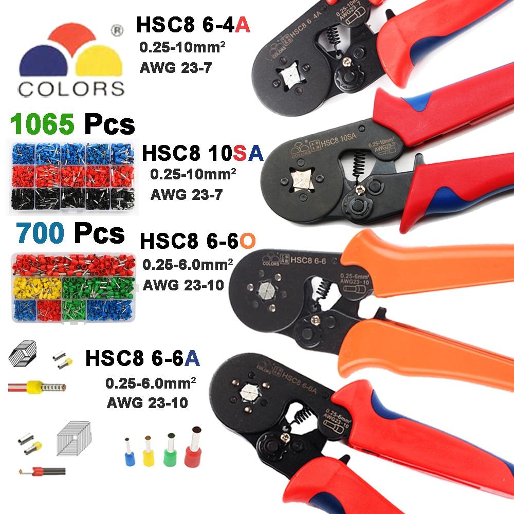 10SA HSC8 6-6  SELF-ADJUSTABLE MINI-TYPE CRIMPING PLIER 0.25-10mm2 Straight German Pliers Hand Tools European Style Crimper 23-7