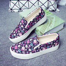 Free shipping Spring Floral canvas shoes women low shoes casual shoes sweet muffin