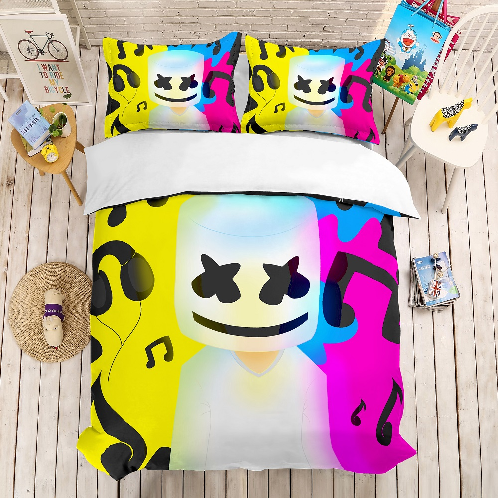 Colorful Note Marshmello Bedding Set Luxury Microfiber Duvet Cover Set 3PCS Cartoon Character Kids Bed Linen Set AU/US/EU SizeColorful Note Marshmello Bedding Set Luxury Microfiber Duvet Cover Set 3PCS Cartoon Character Kids Bed Linen Set AU/US/EU Size