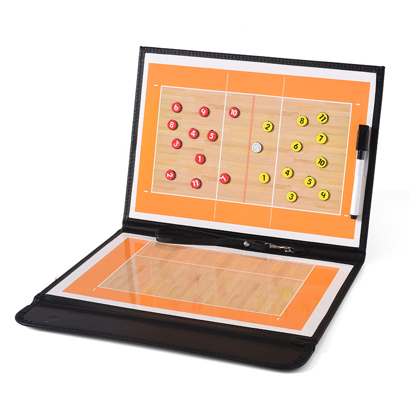 Volleyball Coach Board Tactical Plate Handball Coaching Sets Volley Ball Equipment Training Magnetic Grains & Pen Foldable Board