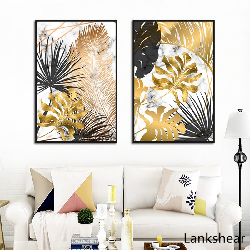 Scandinavian Style Poster Marble Golden Leaf Art Plant Abstract Painting Living Room Decoration Pictures Nordic