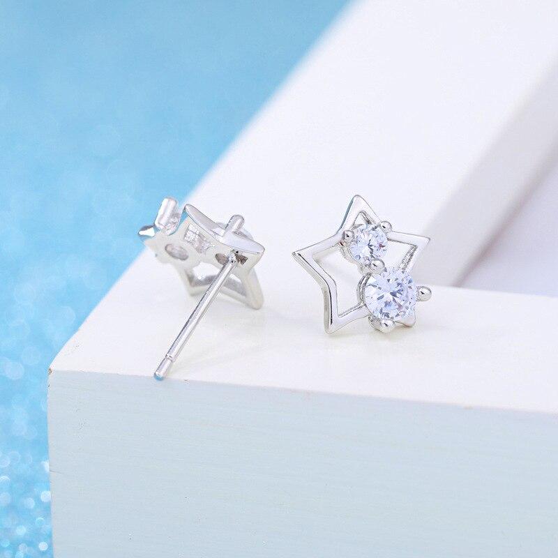 100 925 sterling silver 2018 new arrival shiny crystal little star ladies stud earrings jewelry Anti allergy women female gift in Stud Earrings from Jewelry Accessories