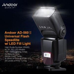 Image 2 - Andoer AD 560II Pro Camera Flash Speedlite voor Canon Nikon Olympus Pentax DSLR Camera Met Hot Shoe Mount Met Kleur Filters