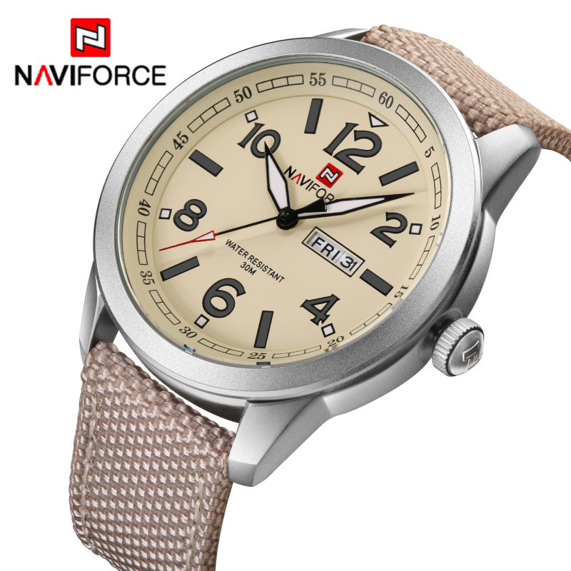 Top Brand NAVIFORCE Nylon Band Sport Watch Fashion Casual Mens Military Calender Clock Man Quartz Wrist watch Relogio Masculino