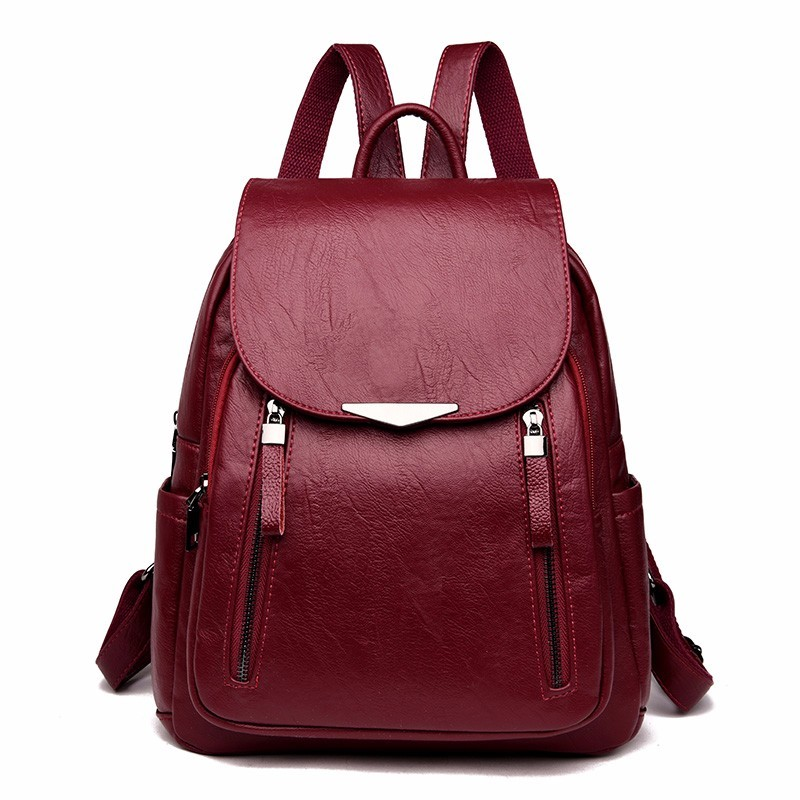2018 Women Leather Backpacks Female Shoulder Bag Sac A Dos Ladies Bagpack Vintage School Bags For Girls Travel Back Pack New 2017 new fashion women backpack female pu leather women s backpacks bagpack bags travel bag back pack multi purpose shoulder bag