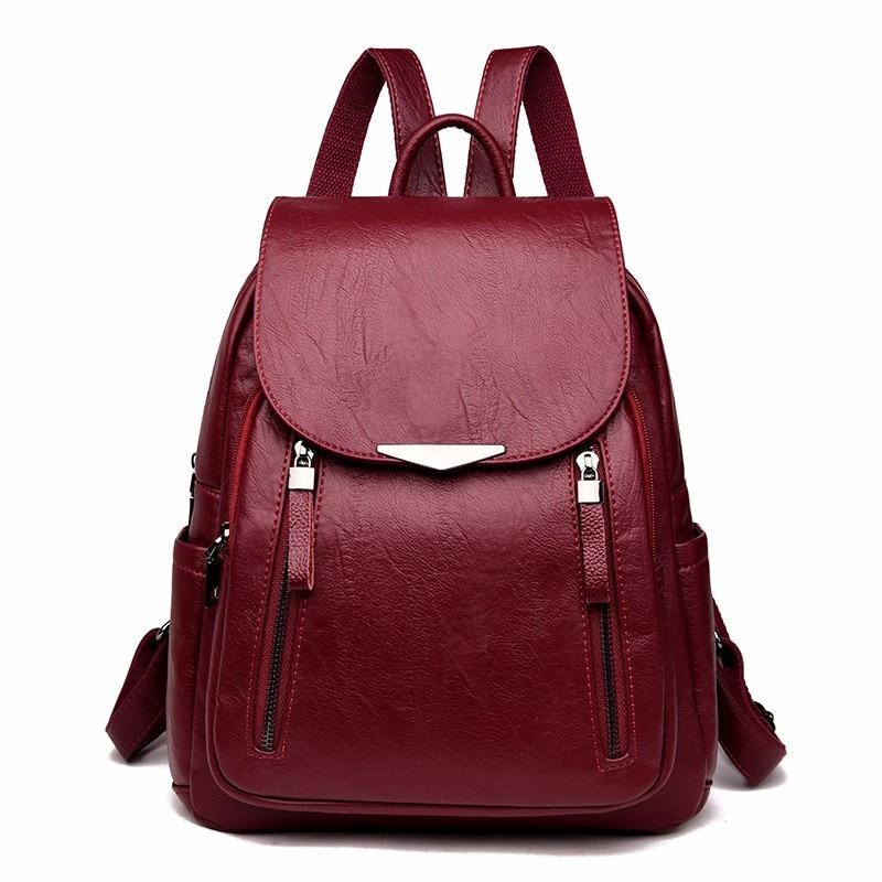 cda6d090bdad 2019 для женщин кожа рюкзаки женская сумка Sac Dos женский рюкзак Винтаж Школьные  рюкзаки для девочек путешествия Back Pack новый