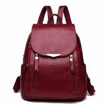 2019 Women Leather Backpacks Female Shoulder Bag Sac A Dos Ladies Bagpack Vintage School Bags For Girls Travel Back Pack New