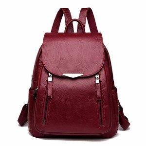 Image 1 - 2019 Women Leather Backpacks Female Shoulder Bag Sac A Dos Ladies Bagpack Vintage School Bags For Girls Travel Back Pack New