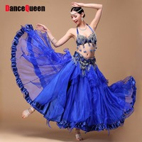 2017 Costumes For Belly Dance 3pcs(Bra & Belt & Skirt) Gypsy Clothing Chinese Dance Fans Indian Sari Dresses For Belly Dancing