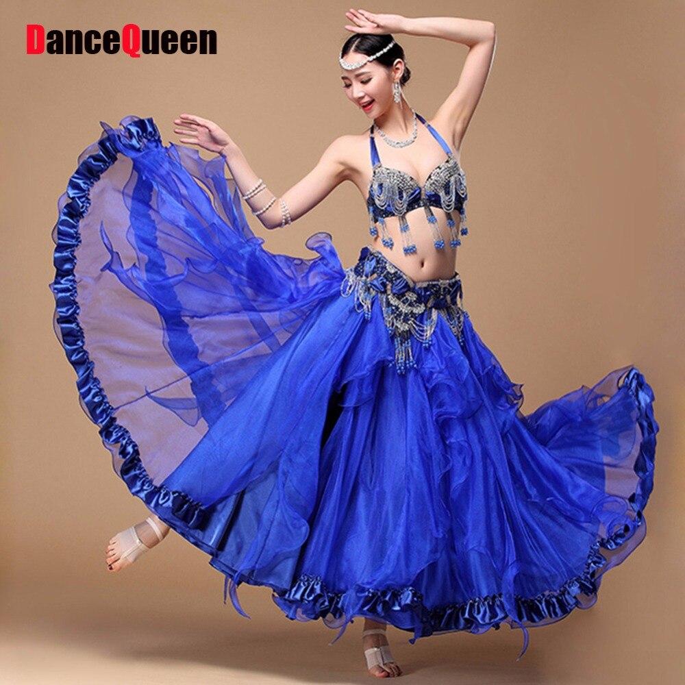 2018 Costumes Pour la Danse Du Ventre 3 pcs (Soutien-Gorge et Ceinture et Jupe) gypsy Vêtements Danse Fans Chinois Indien Sari Robes Pour la Danse Du Ventre