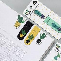 Bonito Cactus Papel Bookmarks Clipe Geladeira Magnética Adesivos Escola Material de Escritório Papelaria Escolar Papelaria Presente