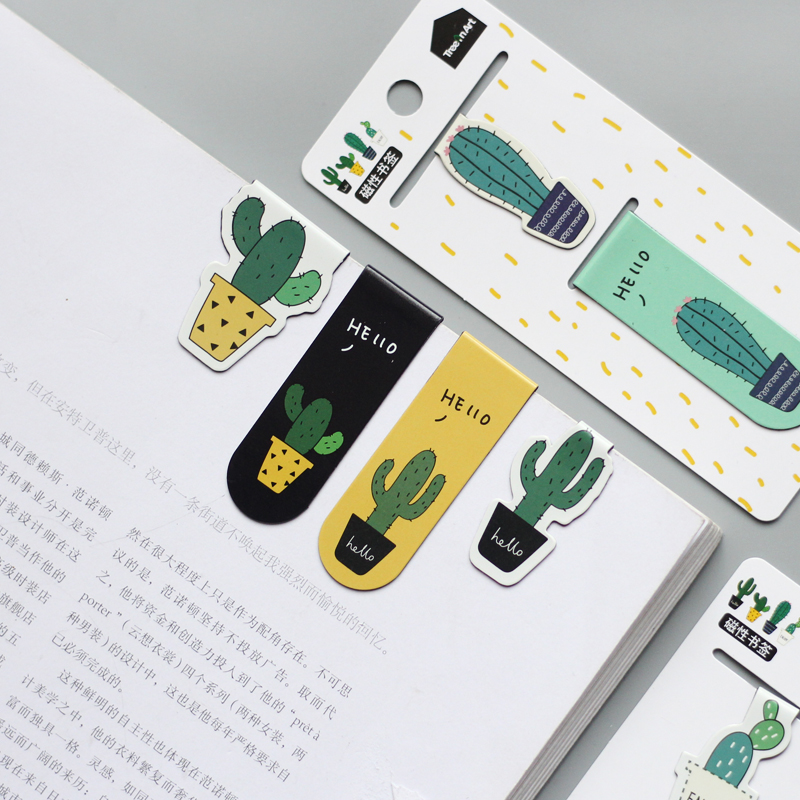 Cute Cactus Magnetic Bookmarks Paper Clip Fridge Stickers School Office Supply Escolar Papelaria Gift Stationery cactus cute cactus brooch