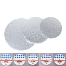 Round Silver Anti-skid Cake Circle Cardboard Cake drums - 1 Piece Cake Base Plate board Turntable for Presenting Decorated Cakes(China)