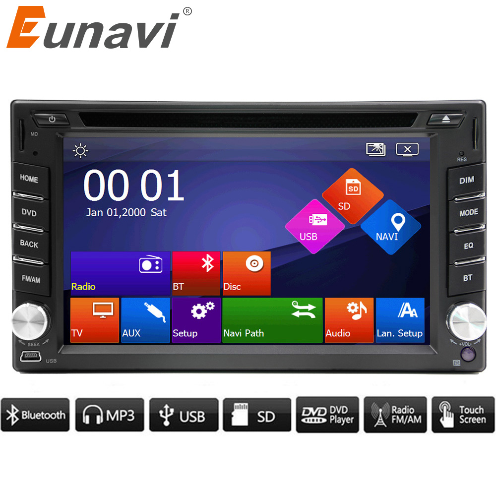 2017 New Eunavi 2 Din Car Dvd Bluetooth Usb/tf Fm Aux Input Radio Mp5 Player Multimedia Entertainment With Hd Rear View Camera 7 hd 2din car stereo bluetooth mp5 player gps navigation support tf usb aux fm radio rearview camera fm radio usb tf aux