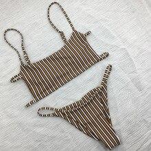 Free Shipping Women Bikini Push Up Striped Bandeau