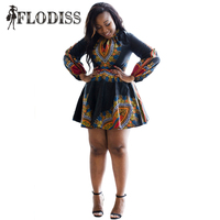 2017 wiosna kobiety boho dashiki dress seksowna mini party dress długim rękawem w stylu vintage tradycyjnego druku afryki suknie plus rozmiar m-3xl
