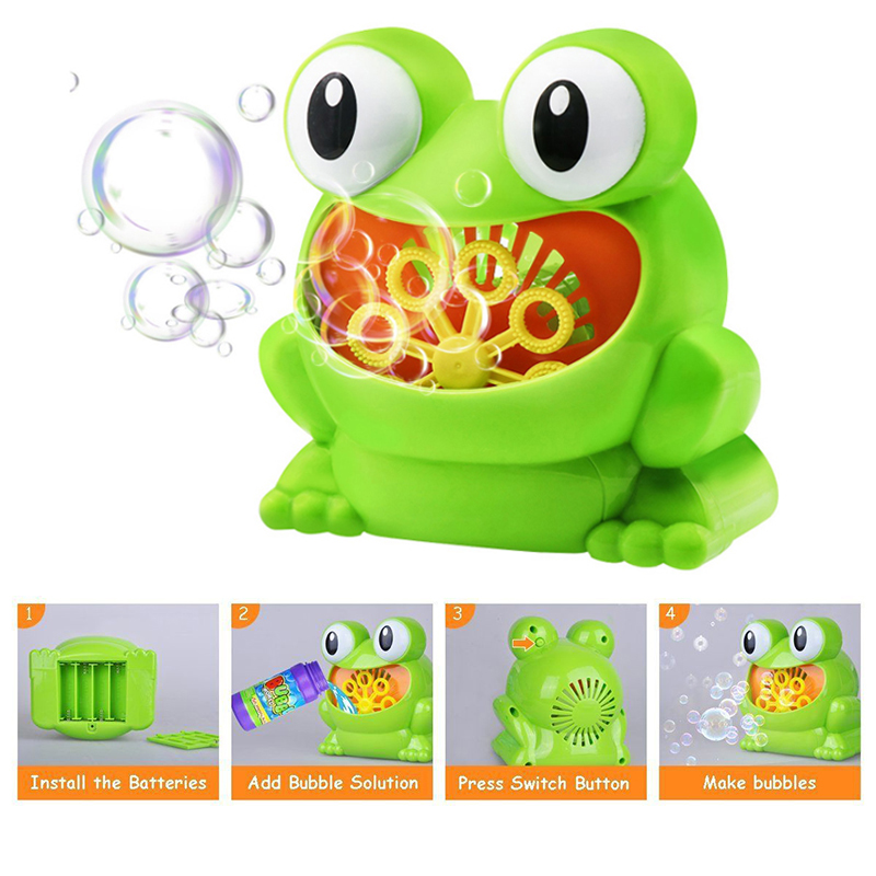 New Cute Automatic Bubble Maker Kids Frog Bubble Blower Machine Birthday Party Wedding 500 Bubbles /Minute Children Outdoor Toys