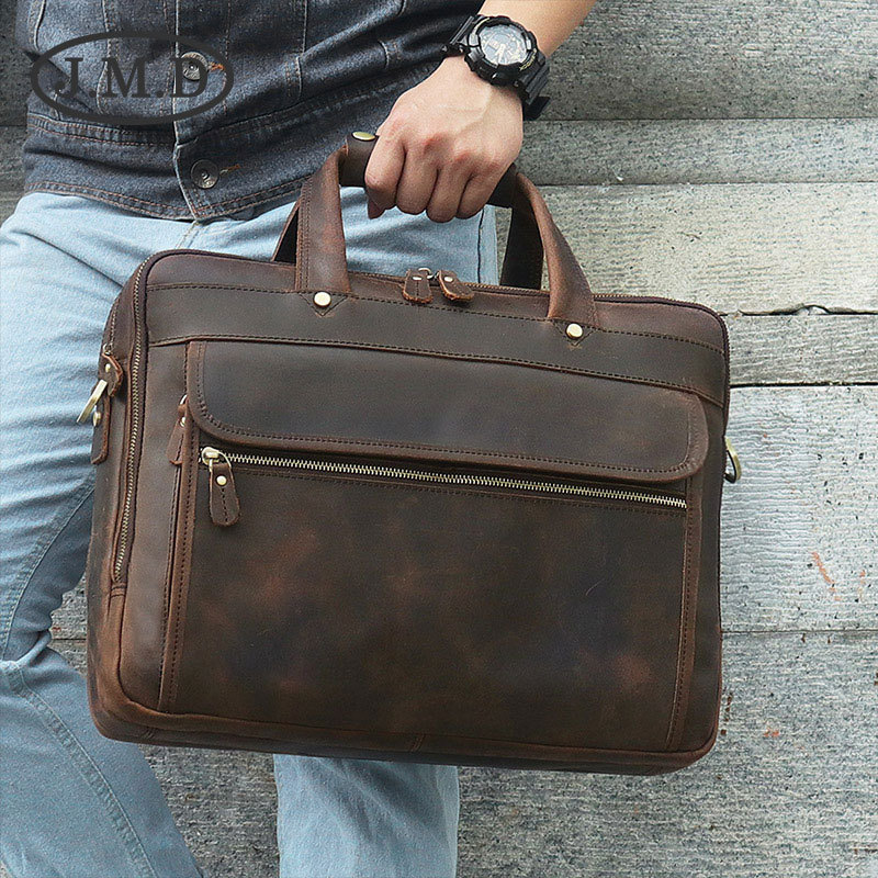 J.M.D Men/'s Crazy Horse Leather Business Briefcase Shoulder Bag 12.5 Inch