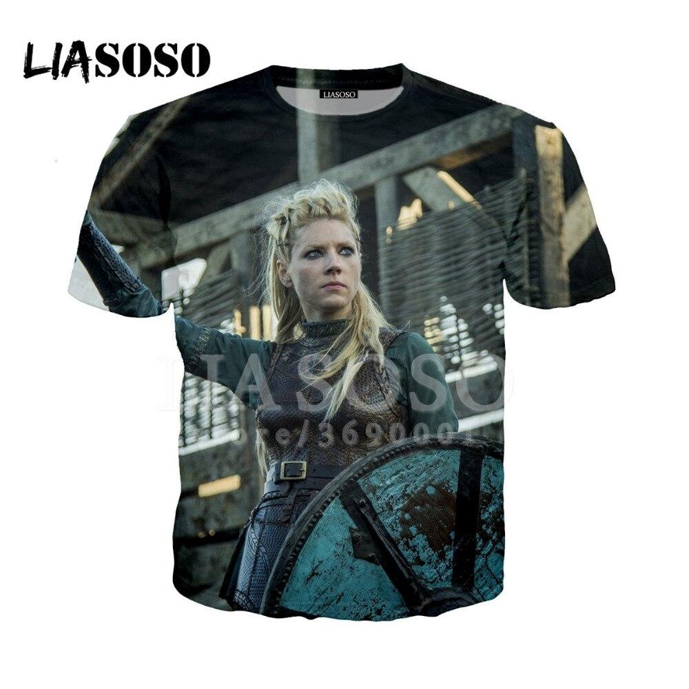 9ccc249d LIASOSO 3D Print Women Men Ireland Vikings Ragnar Lothbrok Lagertha Tshirt  Summer T-shirt Hip Hop Pullover Short Sleeve X1033