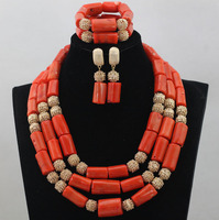 Fabulous Big Coral Bead African Nigerian Wedding Jewelry Set Gold Accessories Bridal Coral Statement Jewelry Set